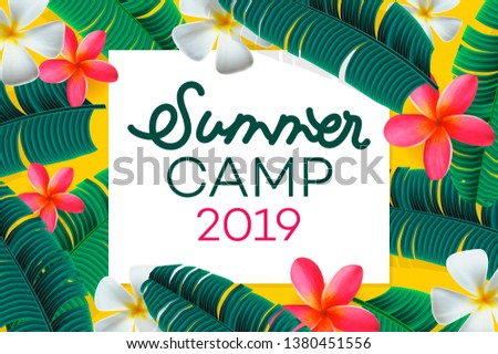 Summer camp 2019 handdrawn lettering on jungle background with colorful tropical leaves. Vector illu Stock photo © ikopylov