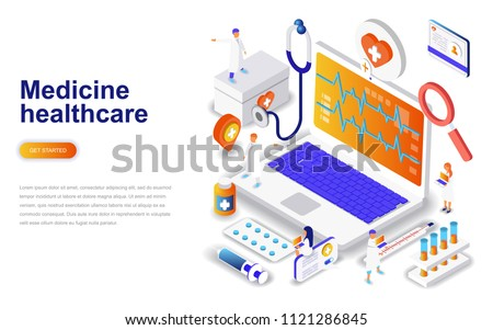 Isometric flat vector concept of medical research, science technology. Stock photo © TarikVision