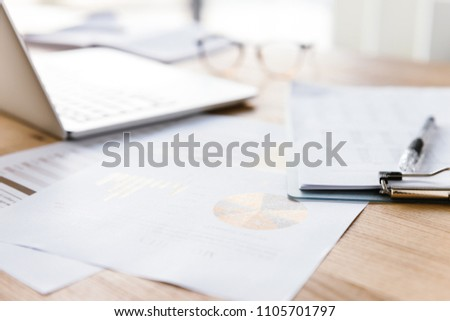 Closeup blurred view of workplace in office room without people  Stock photo © deandrobot
