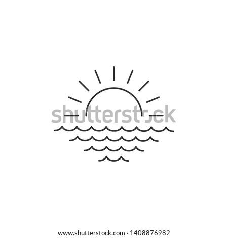 Amanecer puesta de sol mar lineal mínimo icono Foto stock © kyryloff