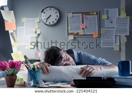 Businessman sleeping and dreaming at his workplace Stock photo © ra2studio