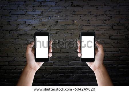 Twee handen scherm smartphone oude Stockfoto © Freedomz