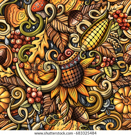 Cartoon hand-drawn doodles on the subject of Autumn theme seamless pattern Stock photo © balabolka