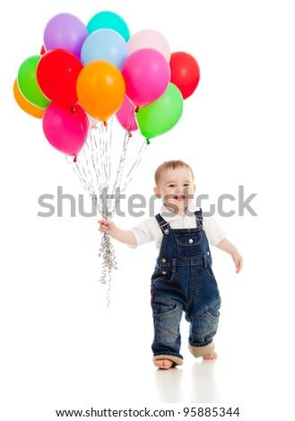 Engraçado pequeno bebê belo em pé branco Foto stock © Lopolo