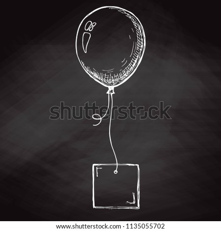 rajz · léggömb · kártya · kötél · hely · szöveg - stock fotó © arkadivna
