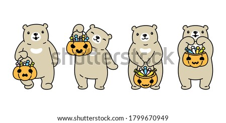 Vector character of cute bear in a pumpkin with candy and stars  Stock photo © amaomam