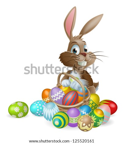 brown easter basket with colorful painted eggs vector illustrati stock photo © cidepix