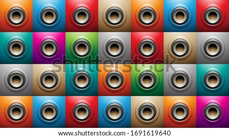Embossed Big Round Shapes on Colorful Squares Background Vector  Stock photo © cidepix