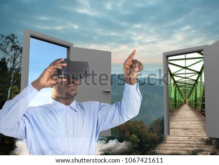 man with VR glasses in the forest with two doors to go other place Stock photo © wavebreak_media