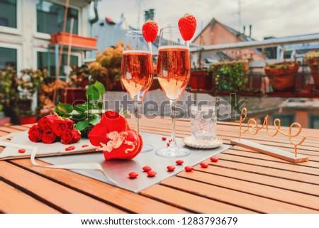 elegáns · üveg · rózsaszín · rózsa · pezsgő · fekete · márvány - stock fotó © denismart