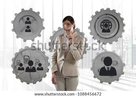 Mulher de negócios em pé pessoas engrenagens gráficos escritório Foto stock © wavebreak_media