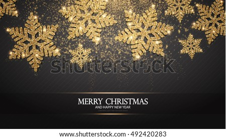 Stock photo: Shining gold snowflakes on black background. Christmas and New Year background. Vector illustration