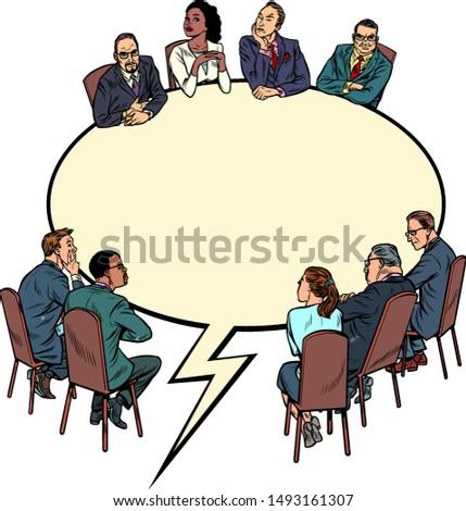 Bubble vergadering zakenlieden dialoog communicatie Stockfoto © studiostoks