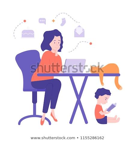 freelancer · werknemer · vector · vrouw · werken · home - stockfoto © robuart