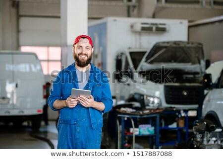 Jonge vrolijk technicus machine reparatie dienst Stockfoto © pressmaster