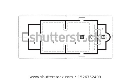 Architectural plan of Orthodox Church. Medieval Orthodox Monastery. Scheme of movement at the Liturg Stock photo © Glasaigh