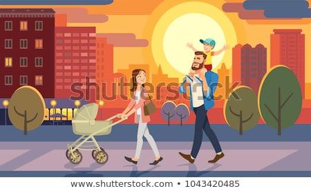 desenho · animado · caminhada · homem · sorridente · grama · tropical - foto stock © robuart