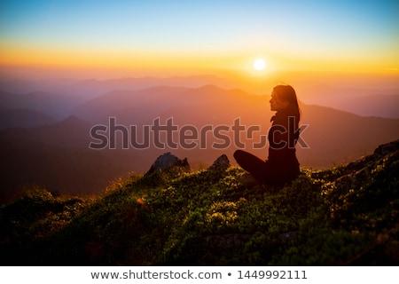 sziluett · női · meditál · kő · tenger · nő - stock fotó © vapi