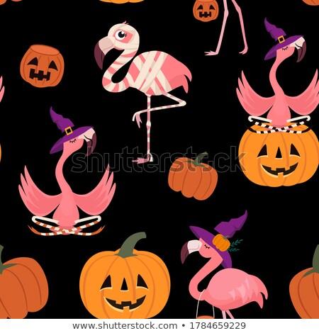 Halloween flamingo heks illustratie permanente plant Stockfoto © lenm