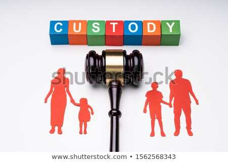 Blocks With Custody Text Above Separated Family Figure And Gavel Over White Surface Stock photo © AndreyPopov