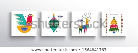 Christmas New Year folk nordic art animal card set Stock photo © cienpies