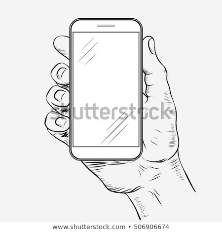Mobiltelefon kezek elöl kilátás rajz kéz Stock fotó © Andrei_
