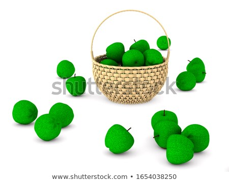 wooden wicker basket and apples on white background. Isolated 3D Stock photo © ISerg