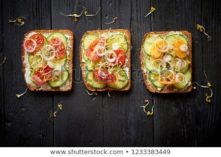 プレート トマト フェタチーズ 大根 健康 チェリートマト ストックフォト © dash