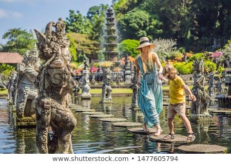 Boy tourist in Taman Tirtagangga, Water palace, Water park, Bali Indonesia. Traveling with children  Stock photo © galitskaya