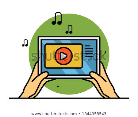 Hand tablet geluid ontwerp aanraken Stockfoto © ra2studio