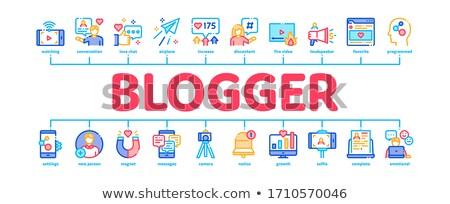 Blogger kanaal banner vector Stockfoto © pikepicture