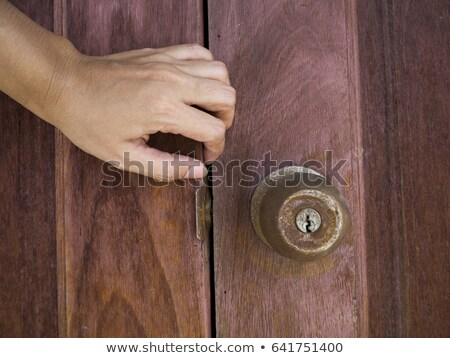 Apertura puerta fuera mujer casa Foto stock © AndreyPopov