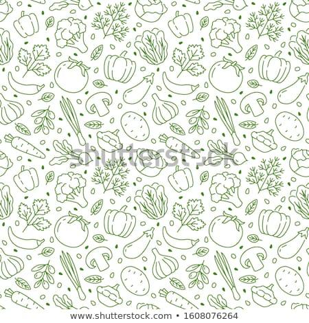 Cook With Green Doodle Vegetables Stok fotoğraf © Nadiinko