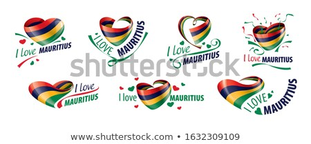 National flag of the Mauritius in the shape of a heart and the inscription I love Mauritius. Vector  Stock photo © butenkow