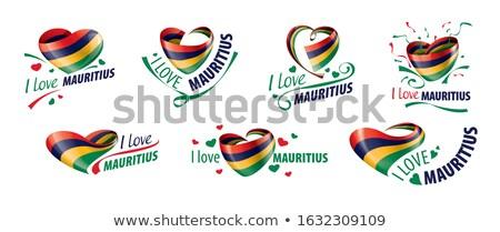 флаг Маврикий форма сердце любви Сток-фото © butenkow