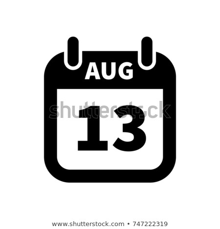 Simple black calendar icon with 13 august date isolated on white Stock photo © evgeny89
