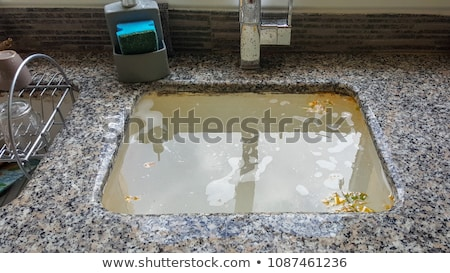 Cleaning Blocked Drain Clog In Kitchen Sink Stock photo © AndreyPopov
