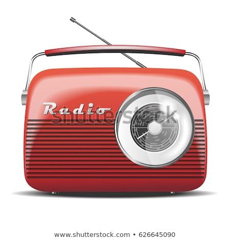 Rood · radio · glanzend · knop · geïsoleerd · witte - stockfoto © cidepix