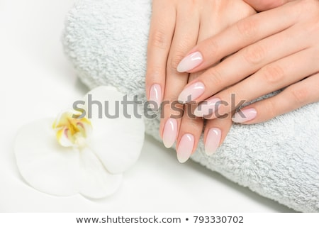 Stock photo: Blue french manicure