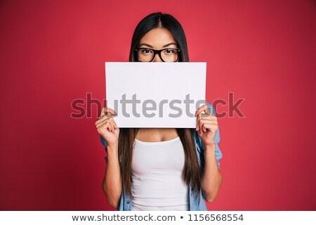 signo · personas · mujer · cartel · papel · anunciante - foto stock © Maridav