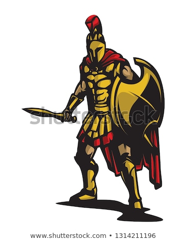 Foto d'archivio: Spartan Trojan Mascot Vector Cartoon With Spear And Shield