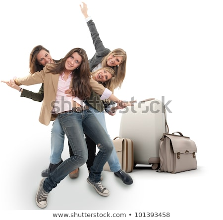 Business travel young happy blonde woman with case Stock photo © darrinhenry
