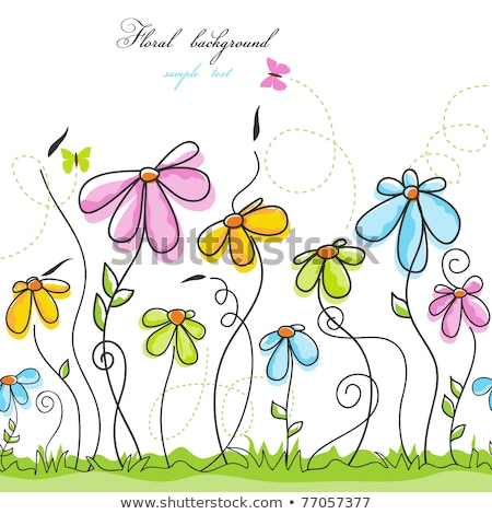 Pretty butterflies and flowers childrens illustration stock photo © Julietphotography