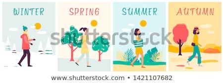 Ayarlamak afişler ağaç farklı mevsim çim Stok fotoğraf © LoopAll