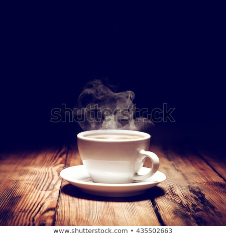 ストックフォト: ホット · コーヒー · 白 · カップ · 木製のテーブル · 豆
