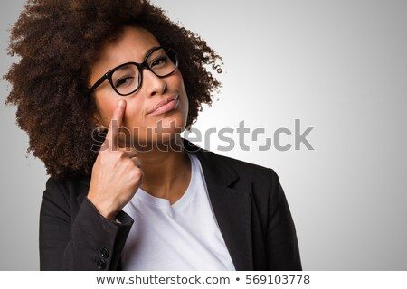 Closeup portrait of young pretty business woman standing at her  Stock photo © HASLOO