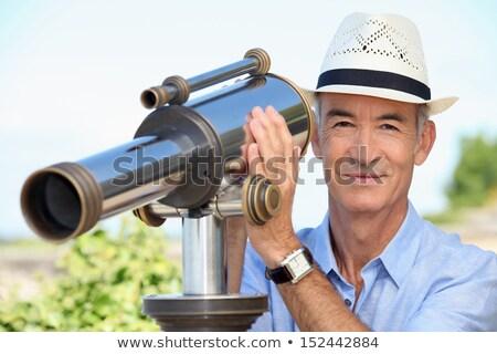 senior · man · kijken · landschap · glimlach · Blauw - stockfoto © photography33