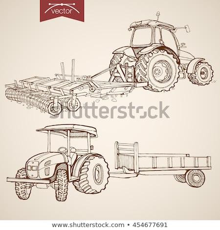 Eski traktör pulluk tarım alan teknoloji Stok fotoğraf © Mikko
