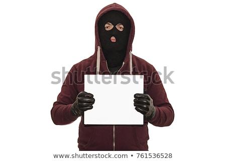 voleur · portrait · noir · yeux · ombre - photo stock © ralanscott