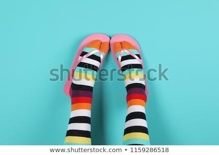 Funny różowy sandały kobiet stóp odizolowany Zdjęcia stock © Nobilior